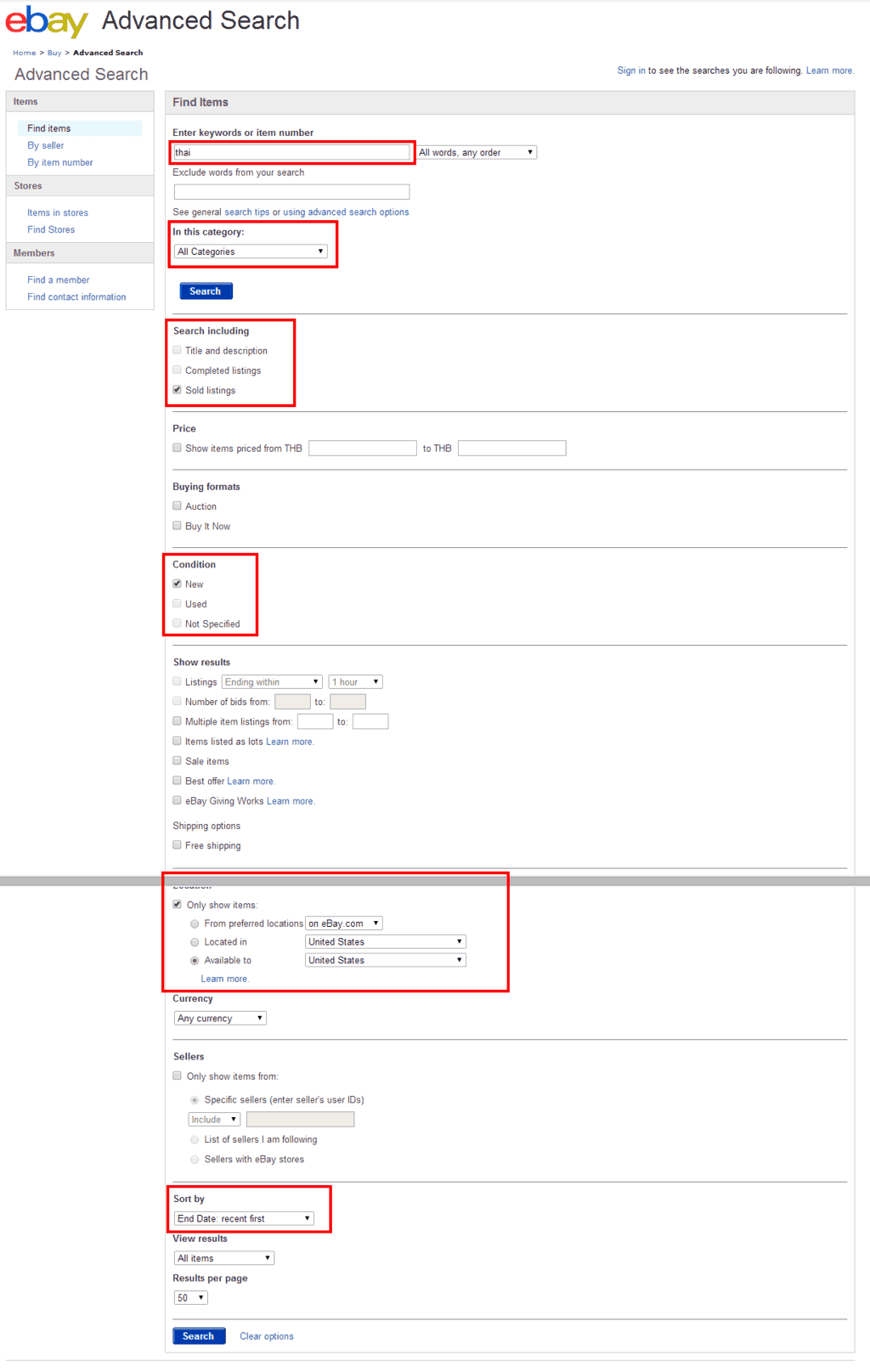 eBay Search Advanced Search
