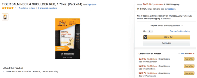 TIGER BALM NECK & SHOULDER RUB sell on amazon