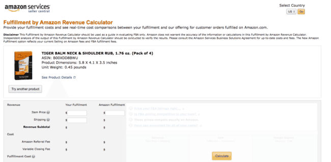 Fulfillment by Amazon Revenue Calculator