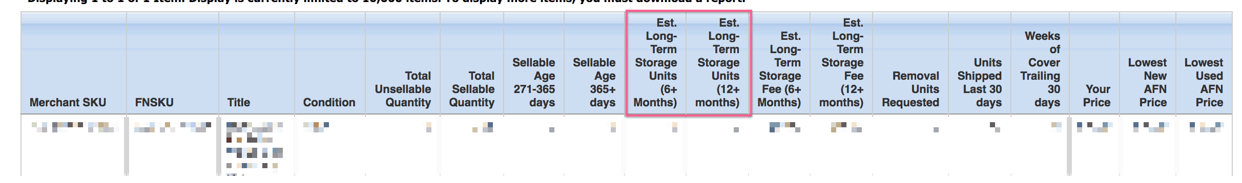 Amazon FBA long-term storage fees